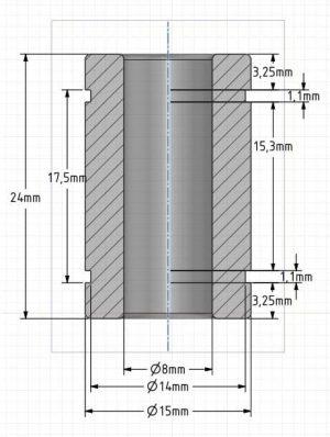 sezione tecnica cuscinetto lineare per cnc