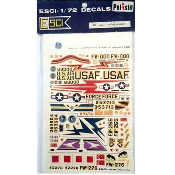 Decal F 100 Super Sabre scala 1/72 Esci