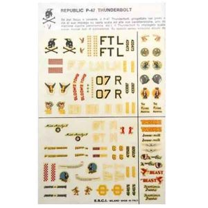 Decal F47 thunderbolt scala 1/72 esci