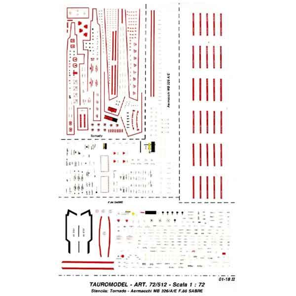 Data Stencilligs per Tornado F-86 MB-326 1:72