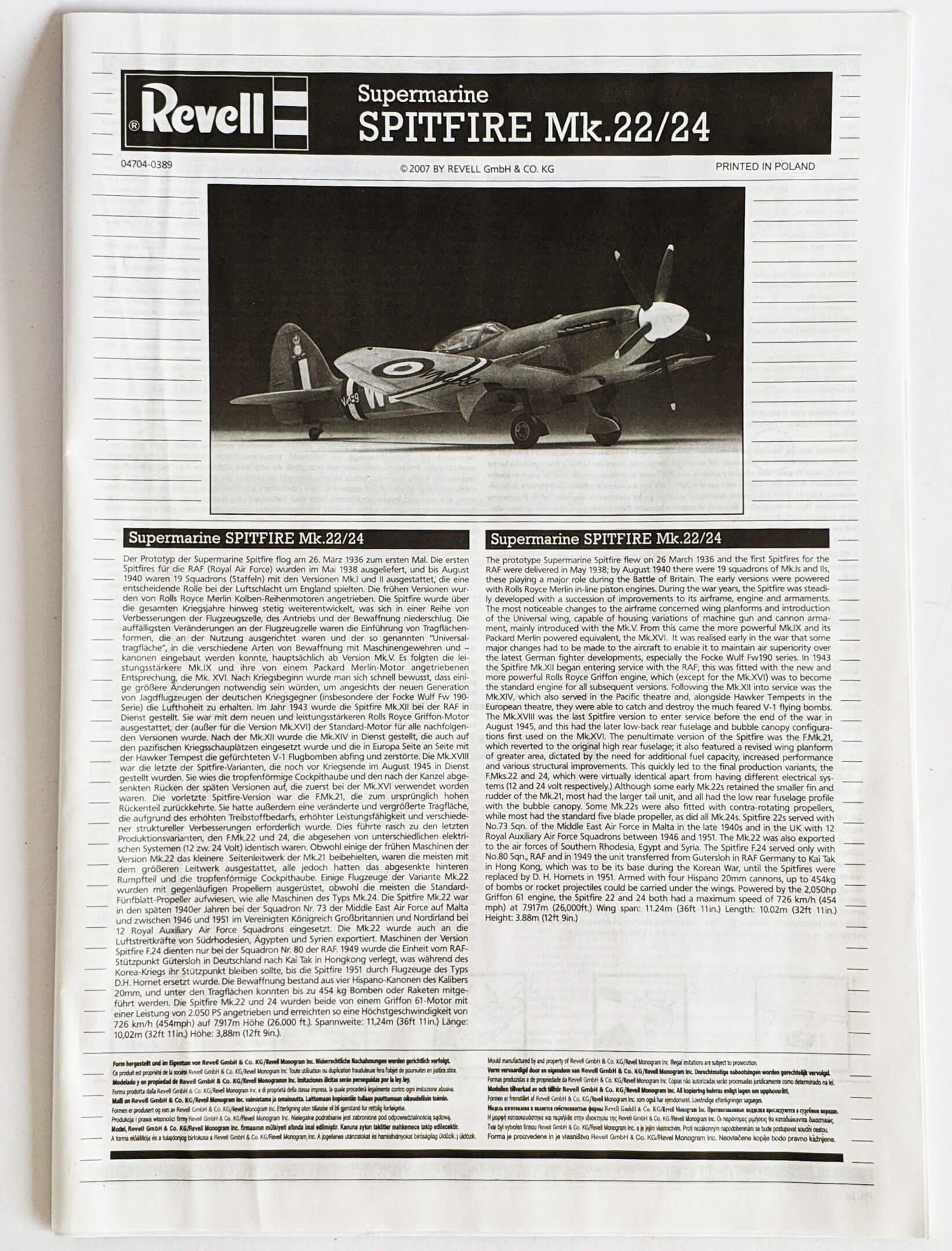 Supermarine SPITFIRE Mk.22/24 1/32 MODELLISMO