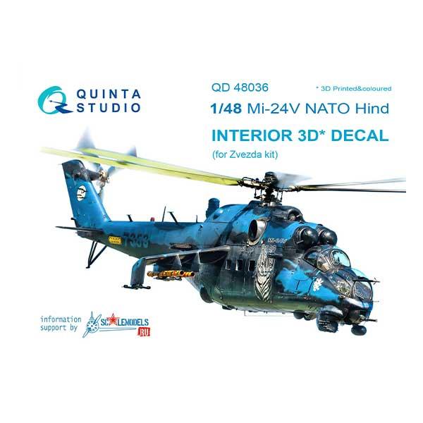 decal 3d cockpit mi-24v nato scala 1:48 colore nero