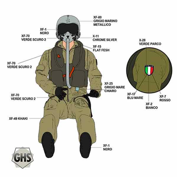 Pilota Militare Italiano Anni 90 AMI Seduto