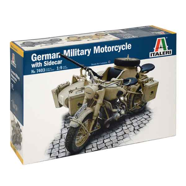 german-military-motorcycle-italeri-scala-1-9BMW R75 German Military Motorcycle with side car Italeri Scala 1:9 7403