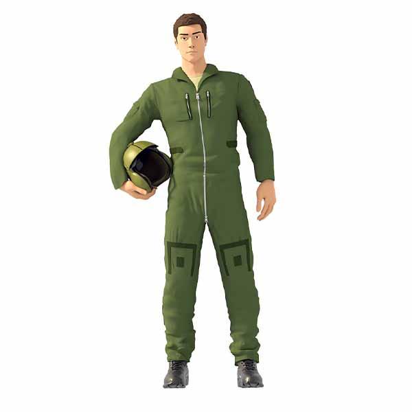 Pilota Militare Elicottero (Tuta di volo) in Resina Scala 1:72 48 32