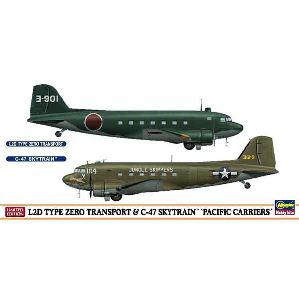 """L2D Type 0 & C-47 Skytrain """"Pacific Carriers"""" Hasegawa Scala 1:200"""