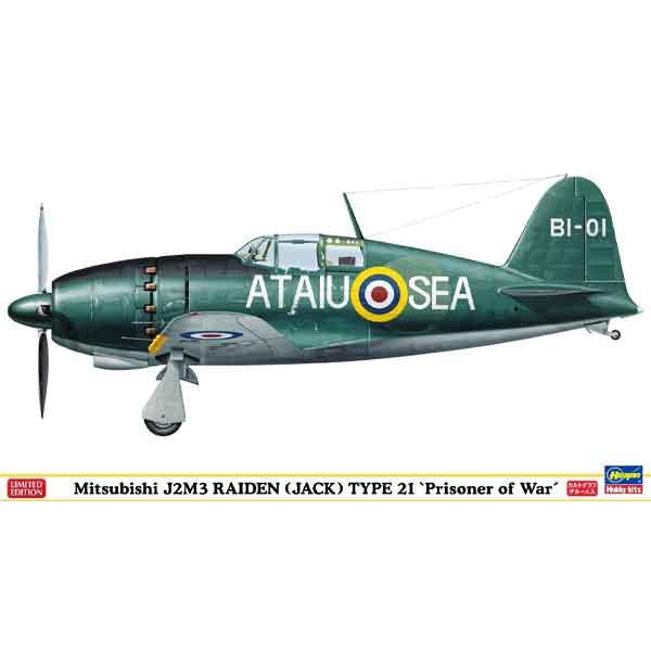 """Mitsubishi J2M3 Raiden Type 21 """"Prisoner of War"""" Hasegawa Scala 1:48"""