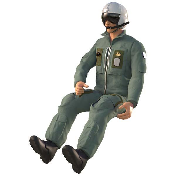 Pilota elicottero Seduto in Resina Scala 1:72 48 32