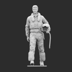 pilota anni 90 casco in mano camminata stl
